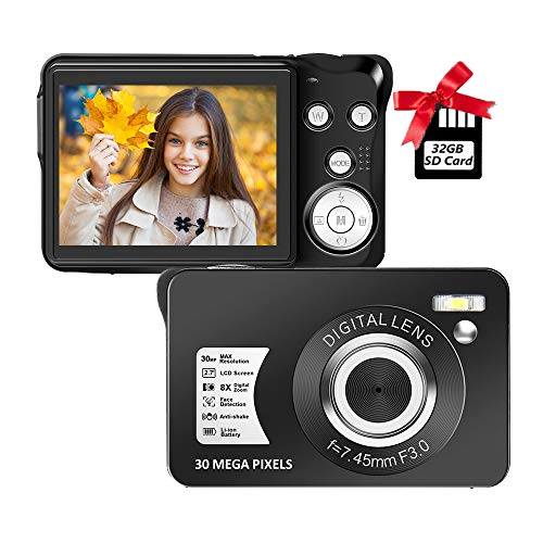 Digital Camera,30MP Compact Camera,2.7 inch Pocket Camera,Rechargeable Small Digital Camera for Kids,Students,School,Children,Photography with 8X Zoom 32GB SD Card Included