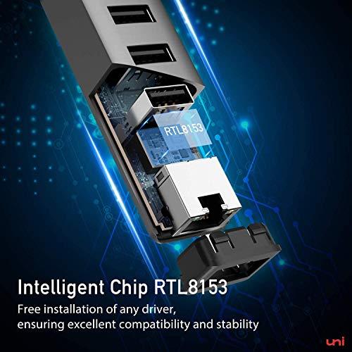 USB C Ethernet Adapter, uni USB C Ethernet Hub, USB C auf Ethernet Adapter mit RJ45 LAN Netzwerk, kompatibel mit MacBook Pro/Air, iPad Pro 2020/2018, iPad Air 2020 - Space Grau