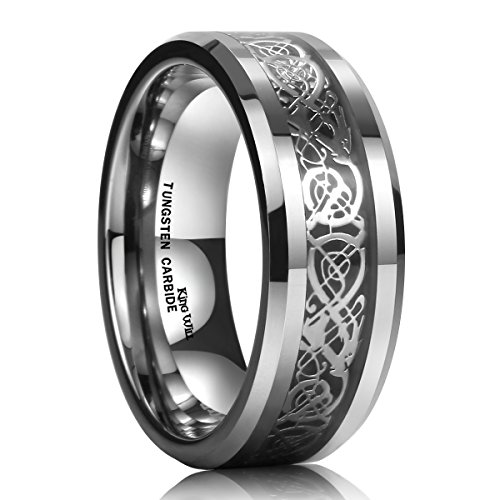 King Will DRAGON Men Tungsten Carbide Ring Wedding Band 8mm Silver Celtic Dragon Inlay Polish Finish 9.5