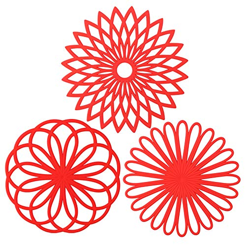 ME.FAN 3 Set Silicone Multi-Use Flower Trivet Mat - Premium Quality Insulated Flexible Durable Non Slip Coasters Hot Pads Red
