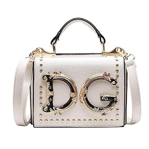 Luxuriöse, modische Handtasche mit Nieten, Umschlagtasche für Damen, Umhängetasche, Kuriertasche, Weiß - weiß - Größe: Einheitsgröße