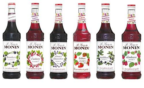 Monin Beeren Set (6 x 0.7l Flaschen: Brombeere, Schwarze Johannisbeere, Erdbeere, Heidelbeere, Himbeere, Cranberry)