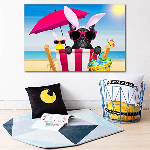 QWESFX Lustige Osterhunde Französische Bulldogge Eier Regenschirm Malerei Wandbilder für Wohnzimmer Moderne Leinwand Tiermalerei (Druck ohne Rahmen) B 40x60CM