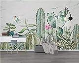 Papel pintado mural adhesivo de pared Papel pintado personalizado pegatinas de pared Cactus pintado a mano Flor de mariposa moderno pequeño fondo fresco pared papel tapiz 3d