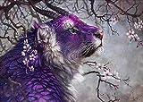 5D Pintura Diamante Arte Decoración Del Hogar Regalo Creativo Bordado Rey Del Bosque Tigre Punto De Cruz Set Redondo Inacabada