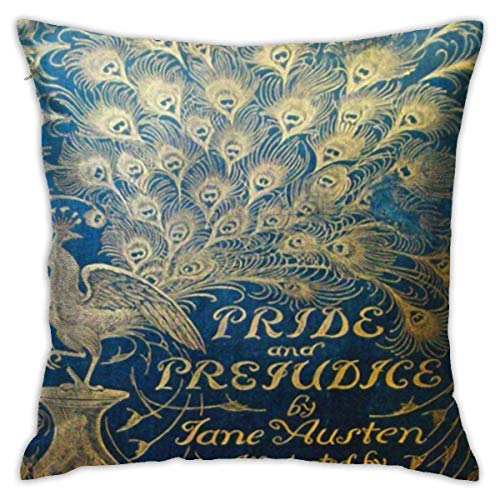 Pemberley Stolz und Vorurteil Pfau Jane Austen Darcy dekorative Überwurfkissenbezüge 18x18 Zoll, quadratische Überwurfkissenbezüge für Sofa Schlafzimmer Auto