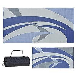 top 10 rv patio mat Reversible Carpet 159183 Blue / Gray Patio Mat 9ft x 18ft