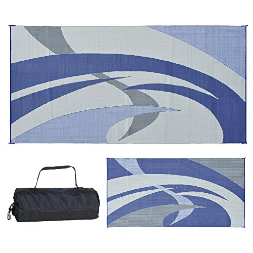 Reversible Mats 159183 Blue/Grey 9-Feet x 18-Feet RV Patio Mat