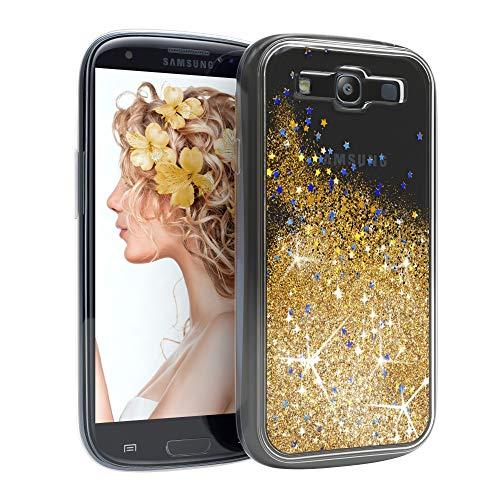 EAZY CASE Hülle kompatibel mit Samsung Galaxy S3 / S3 Neo Schutzhülle mit Flüssig-Glitzer, Handyhülle, Schutzhülle, Back Cover mit Glitter Flüssigkeit, aus TPU/Silikon, Transparent/Durchsichtig, Gold