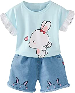 Toraway Baby Kids Clothes Set Toddler Kid Baby Boys Hooded Cartoon Strip Cardigan Coat+Jeans Pants Denim Outfits(1-6Y)