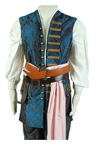RedJade Pirates of The Caribbean 4 Jack Sparrow Traje de Cosplay Disfraz Solo Chaleco Hombres XXXL