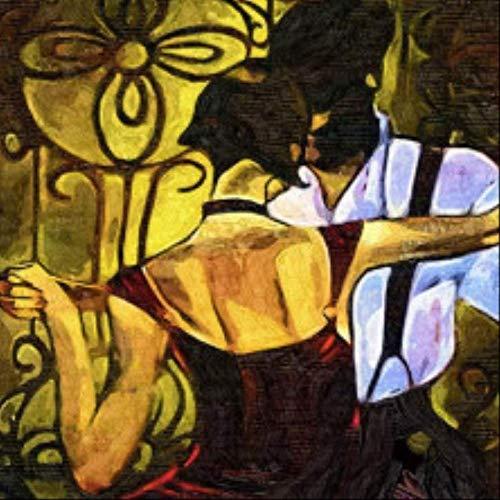 tytlwall malen nach Zahlen Kits,Tango Figur Malerei Paar Porträt Wandkunst Malerei Esszimmer Wanddekoration Retro Foto Dekoration(50X50CM)