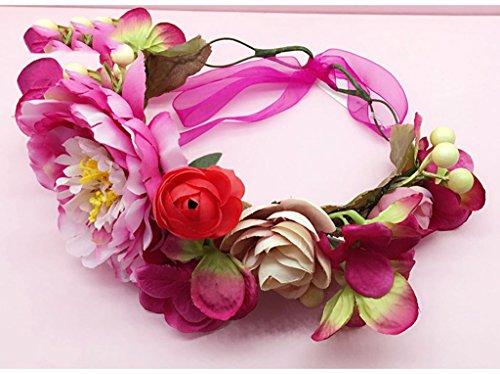 QQB &Coiffe de corolle Couronne de fleurs, Bandeau Fleur Garland Fête de mariée à la main à la main Fait bande Bandeau Bracelet Bande de cheveux (Couleur : B)