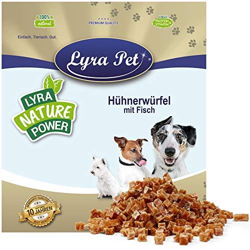 Lyra Pet® 1 kg Hühnerfleischwürfel mit Fisch Hundefutter Snack fettarm schonend getrocknet Leckerli Kausnack Kauartikel für Hunde Kauspaß