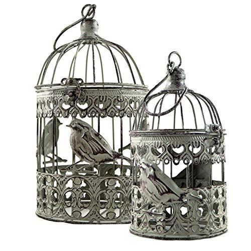 PrimoLiving Juego de 2 jaulas para pájaros, color gris antiguo.
