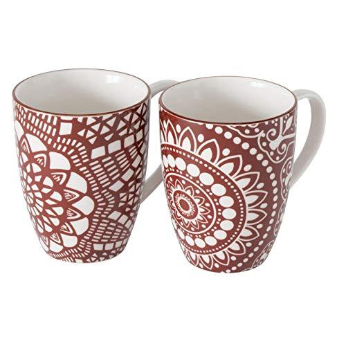 Juego de 2 tazas de porcelana con diseño de mandala, 330 ml, 10 x 8 cm, color blanco y rojo