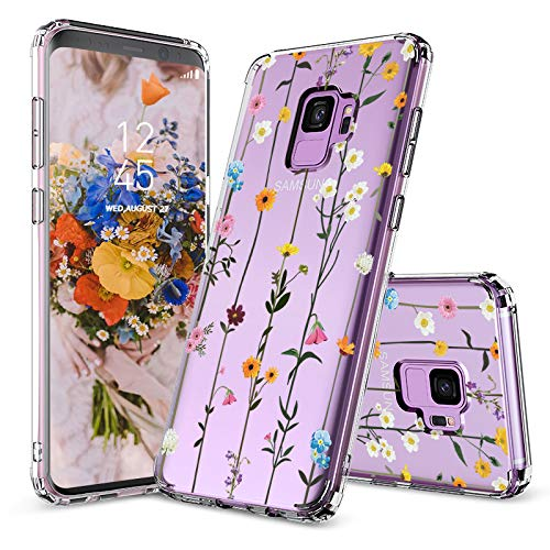 MOSNOVO Galaxy S9 Case, Galaxy S9 Case Clear, Wildflower Floral Flower Pattern Printed Clear Design Transparent Plastic Back Case with TPU Bumper Case Cover for Samsung Galaxy S9