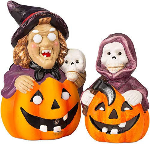 NUOLANDE Halloween Keramik Kürbis Topf, Kürbislaterne, LED-Kürbislaterne Glühend, Hexe Lampe, Dekoration Requisiten, Desktop-Ornamente (Hexen Und Skelette)