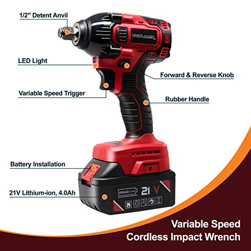 Toolman Rechargeable Cordless Lithium-ion Power Impact Wrench Driver kit 1/2
