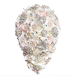 Abbie Home Luxury Silk Rose Cascading Bouquet for Bride-Waterfall Flower Bunch with Pearls Crystal Rhinestone Wedding Decoration