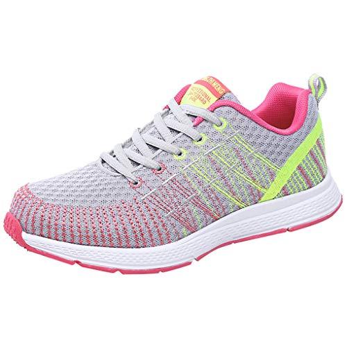 Dorical Damen Schuhe Sneaker/Running Turnschuhe Leicht Fitnessstudio Patchwork Bequem Schuhe Straße Laufschuhe Sporttraining Sportschuhe Outdoor Freizeitschuhe (Grau,40 EU)