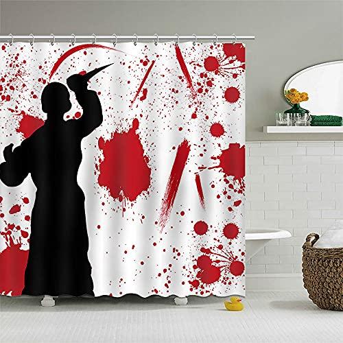 Mocsicka 72×72 Inch Psycho Shower Curtain Scary Halloween Decorations Blood Bath Shower Curtain Splatter Wall Creepy…