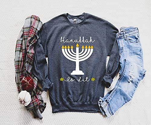 Hanukkah Is Lit Tshirt Menora Tee Jewish Shirt Jew Shirt Happy HanukkahJewish Gift Hanukkah GiftGift for her Gift for himGift idea