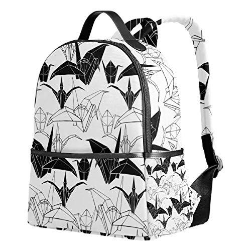 Ahomy Mochila para niñas, Origami Cranes Negro y Blanco Mochila Escolar Libro Bolsas Casual Daypacks para Viajes y Deportes