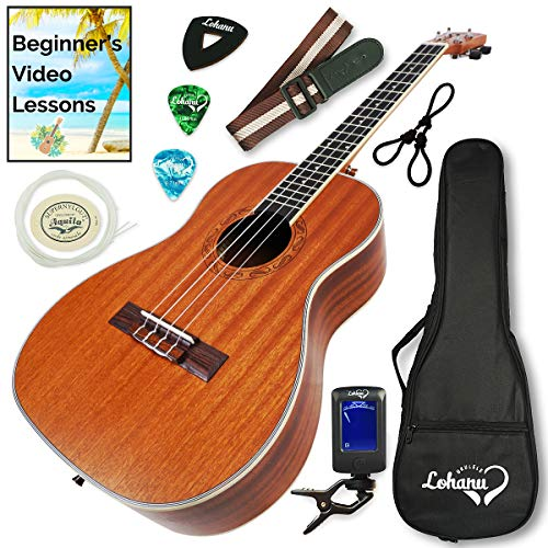 Ukulele Baritone Size Bundle From Lohanu (LU-B) 2 Strap Pins Installed FREE Uke Strap Case Tuner Picks Hanger Aquila Strings Installed Free Video Lessons BEST UKULELE BUNDLE DEAL Purchase Today!