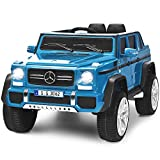 Costzon Ride on Car, Licensed Mercedes-Benz Maybach G650S, 12V Battery Powered Toy w/ 2 Motors, 2.4G Remote Control, 3 Speeds, Lights, Horn, Music, Truck, Electric Vehicle for Kids (Navy)