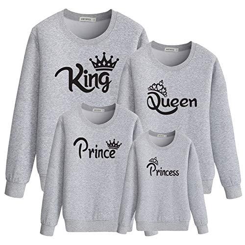 Familien-Matching Langarm T-Shirt King Queen Prince Princess Tops Mutter Tochter Vater Sohn Outfits Eltern-Kind Sweatshirts Setzt