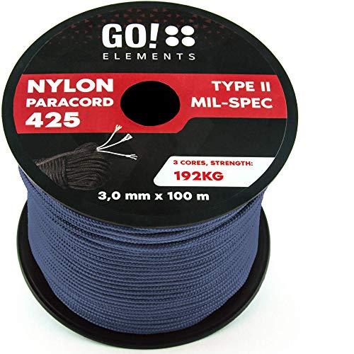 GO!elements 100m Paracord Seil aus reißfestem Nylon - 3mm Paracord 425 Typ II max. 192kg - Schnüre als Outdoor Seil, Allzweckseil, Survival Seil, Armband, Hundeleine, Nylonschnur, Farbe:Grau-Blau