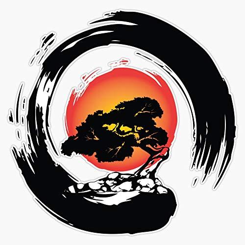 Bonsai Tree Japanese Calligraphy Enso Circle Sticker Vinyl Bumper Sticker Decal Waterproof 5'