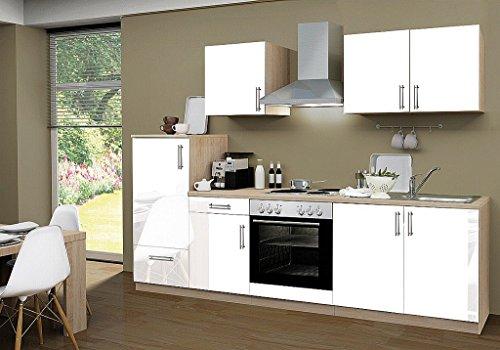 idealShopping Küchenblock mit Elektrogeräten Premium 270 cm in weiß glänzend