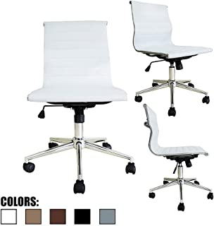 2xhome Modern Mid Back Office Chair Armless Ribbed PU Leather Swivel Tilt Adjustable Chair Designer Boss Executive Management Manager Office Conference Room Work Task Computer White
