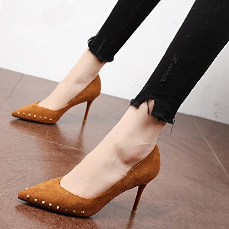 Xue Qiqi Pumps Personalisierte Niet schwarze Spitze satin feine mit hohen - Schuhe rot Die ferse schuhe Tide nacht Frauen, 38,  | Verbraucher zuerst  | Beliebte Empfehlung