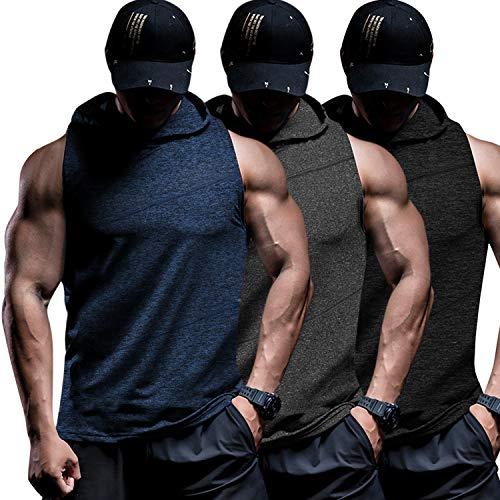 COOFANDY Men's Workout Hooded Tank Tops Bodybuilding Sport Sleeveless T-Shirts