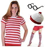 Photo de Déguisement T-shirt rayé en rouge et blanc avec lunettes et chapeau pour filles et femmes -  rouge - 50