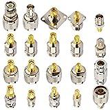 YILIANDUO 20 Tipo RF coaxial adaptador Kit SMA Conector SMA/RP-SMA a BNC/N/F/TNC Conector para SDR Antena Radio Ham Radio Baofeng Telecom CCTV Microondas FM Transmisión