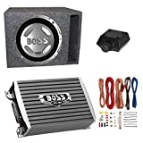 Boss Audio 12' 1400W Car Audio Subwoofer & 1500W Mono Class A/B Amplifier with 8 Gauge Wiring Kit & QPower Single 12' Vented Subwoofer Enclosure Box