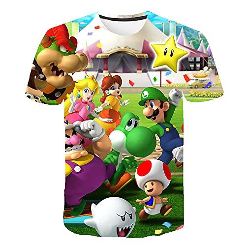 Aatensou Super Mario - Maglietta a maniche corte per bambini, con scollo rotondo, per l'estate, A9,...