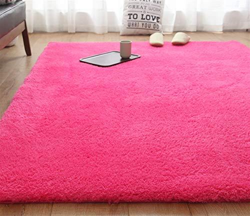 Liveinu Rectángulo Shaggy Alfombra con Respaldo Antideslizante Absorbente Alfombra de Baño 80x200cm Rosa Rojo