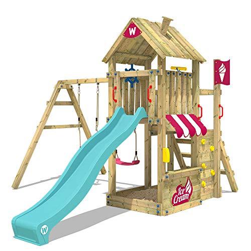 WICKEY Parque infantil de madera The Frozen Flame con columpio y tobogán turquesa Torre de escalada de exterior con arenero y escalera para niños