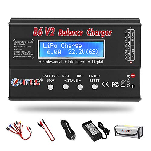 LiPo Battery Charger 1S-6S Balance Discharger Digital Battery Pack Charger for NiMH/NiCD/Li-Fe/LiHV/Li-ion Packs with LCD Display Hobby Battery Chargers with Deans Connectors Power Supply(Black)