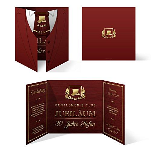 30 x Geburtstag Einladungskarten Einladung Karten Altarfalz 148mm - Gentlemen's Club