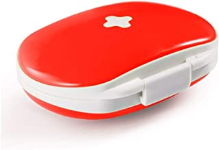 XZHMYYH Medicine box Dispensing one week oval plastic storage box portable outdoor portable small pill six-frame (Color : Red)