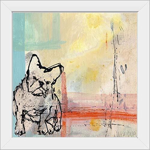 CANVAS ON DEMAND French Bulldog White Framed Art Print, Dog Artwork