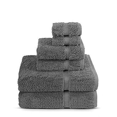 6 Piece Turkish Luxury Turkish Cotton Towel Set - Eco Friendly, 2 Bath Towels, 2 Hand Towels, 2 Wash Clothes by Turkuoise Turkish Towel (Grey)