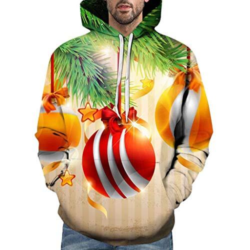 GOKOMO Männer Casual Weihnachten 3D Print Langarm Kapuzenpullover Jacke MantelHerren Casual Weihnachten 3D Print Langarm Hoodie Sweater Jacke(Grün-2,Medium)