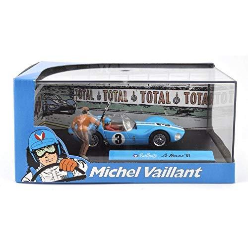 Voiture modèle moulé sous pression 1/43 Michel Vaillant Collection Comic Vaillant Le Mans 1961 Altaya y compris les figures et vitrine en plastique